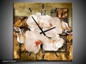 Wandklok op Canvas Orchidee | Kleur: Bruin, Creme | F005875C