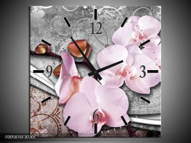 Wandklok op Canvas Orchidee | Kleur: Roze, Grijs | F005876C