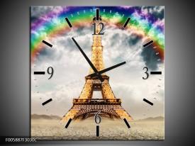 Wandklok op Canvas Eiffeltoren | Kleur: Goud, Grijs | F005887C