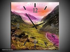 Wandklok op Canvas Bergen   Roze, Paars, Grijs   F005916C