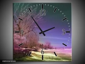 Wandklok op Canvas Landschap | Groen, Blauw, Roze | F005926C