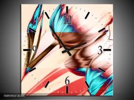 Wandklok op Canvas Tulp | Blauw, Rood, Creme | F005941C