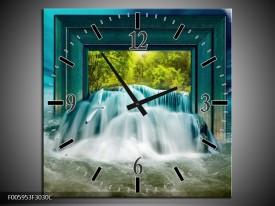 Wandklok op Canvas Waterval   Blauw, Groen, Wit   F005953C