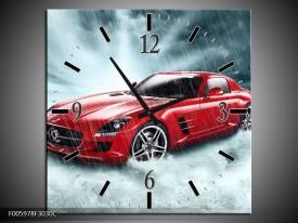 Wandklok op Canvas Mercedes | Kleur: Wit, Rood, Zwart | F005978C