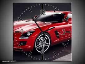 Wandklok op Canvas Mercedes | Kleur: Rood, Zwart | F005980C