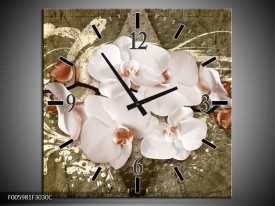 Wandklok op Canvas Orchidee | Kleur: Goud, Wit, Bruin | F005981C