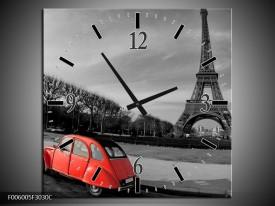 Wandklok op Canvas Parijs | Kleur: Grijs, Rood | F006005C