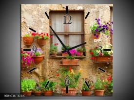 Wandklok op Canvas Huis | Kleur: Groen, Bruin | F006034C