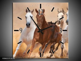 Wandklok op Canvas Paard | Kleur: Bruin, Wit, Creme | F006037C
