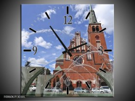 Wandklok op Canvas Kerk | Kleur: Blauw, Grijs, Bruin | F006067C