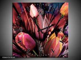 Wandklok op Canvas Tulpen | Kleur: Roze, Paars | F006075C