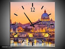 Wandklok op Canvas Brug | Kleur: Geel, Oranje | F006080C