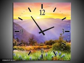 Wandklok op Canvas Natuur   Kleur: Geel, Groen, Oranje   F006097C