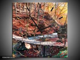 Wandklok op Canvas Herfst | Kleur: Geel, Bruin | F006098C