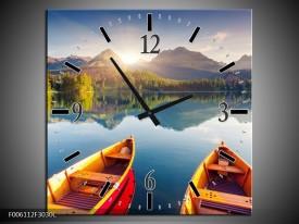 Wandklok op Canvas Boot | Kleur: Oranje, Rood, Blauw | F006112C