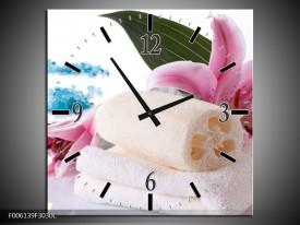 Wandklok op Canvas Spa | Kleur: Roze, Wit, Blauw | F006139C