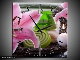 Wandklok op Canvas Spa | Kleur: Roze, Groen | F006140C