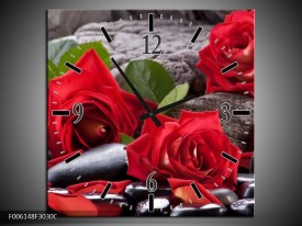 Wandklok op Canvas Roos | Kleur: Rood, Zwart, Groen | F006148C