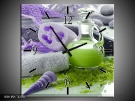 Wandklok op Canvas Spa | Kleur: Paars, Groen, Grijs | F006155C