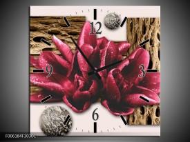 Wandklok op Canvas Modern | Kleur: Bruin, Rood, Creme | F006184C
