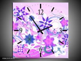 Wandklok op Canvas Abstract | Kleur: Roze, Paars, Wit | F006197C