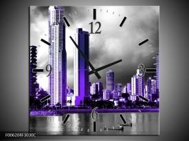 Wandklok op Canvas Wolkenkrabber | Kleur: Paars, Grijs | F006204C