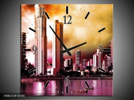 Wandklok op Canvas Wolkenkrabber | Kleur: Paars, Bruin, Roze | F006210C
