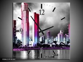 Wandklok op Canvas Wolkenkrabber | Kleur: Paars, Roze, Grijs | F006227C