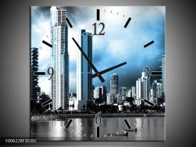 Wandklok op Canvas Wolkenkrabber | Kleur: Blauw, Grijs | F006228C