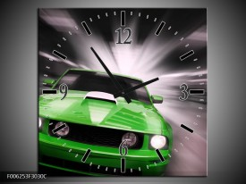 Wandklok op Canvas Mustang | Kleur: Groen, Grijs | F006253C