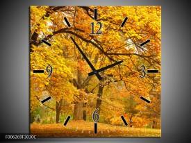 Wandklok op Canvas Herfst   Kleur: Bruin, Oranje   F006269C