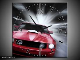 Wandklok op Canvas Mustang | Kleur: Rood, Grijs | F006273C